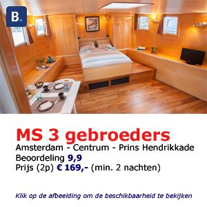 bed and breakfast Amsterdam houseboat 3 gebroeders