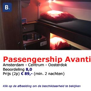 bed and breakfast woonboot Amsterdam passengership avanti
