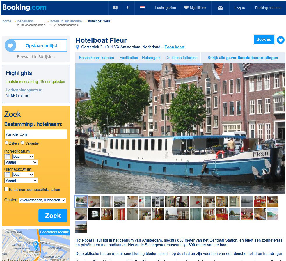 bed and breakfast amsterdam woonboot fleur